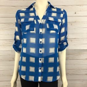 New York & Company geo button down blouse